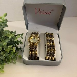 VIVANI Women's Gold Wood Watch w/Bracelet Box Set